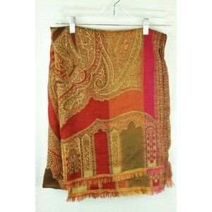 Wrap Shawl Scarf Paisley Red Gold Large